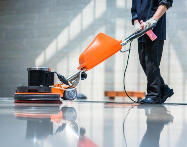 Maquinaria de limpieza de pisos. concept: empresa de limpieza