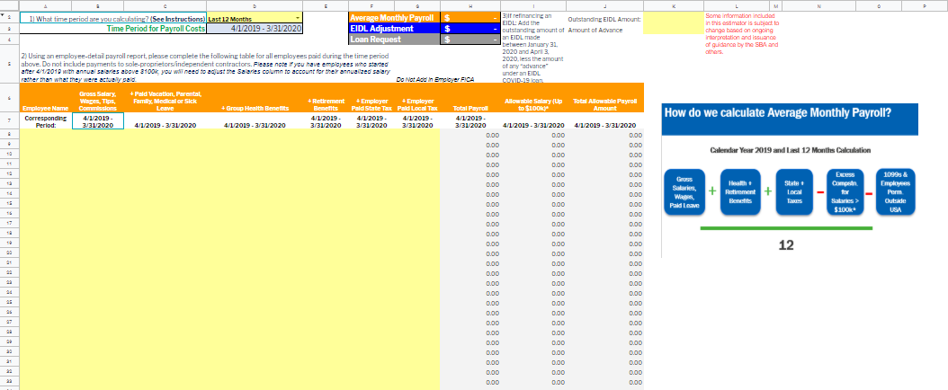PPP Loan Calculation worksheet