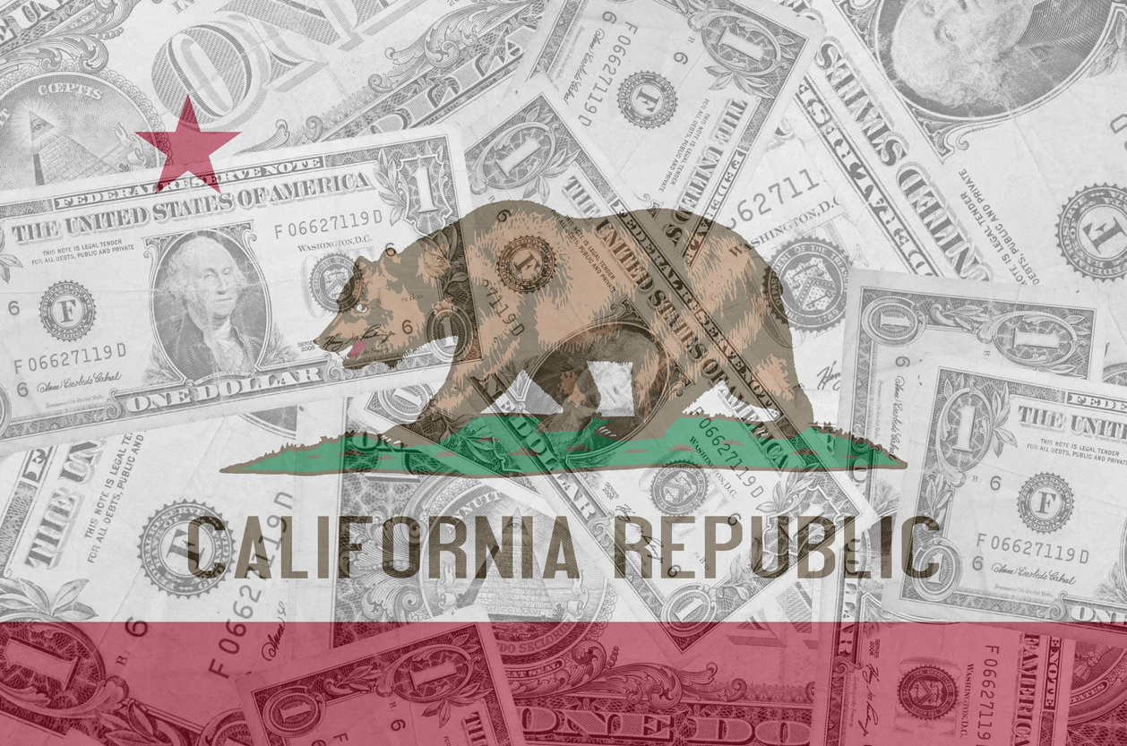 transparent united states of america state flag of california with dollar currency in background symbolizing political, economical and social government. concept: COVID stimulus for undocumented
