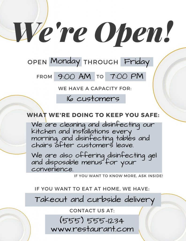 Restaurant reopening plan: open sign, Camino Financial, infographic