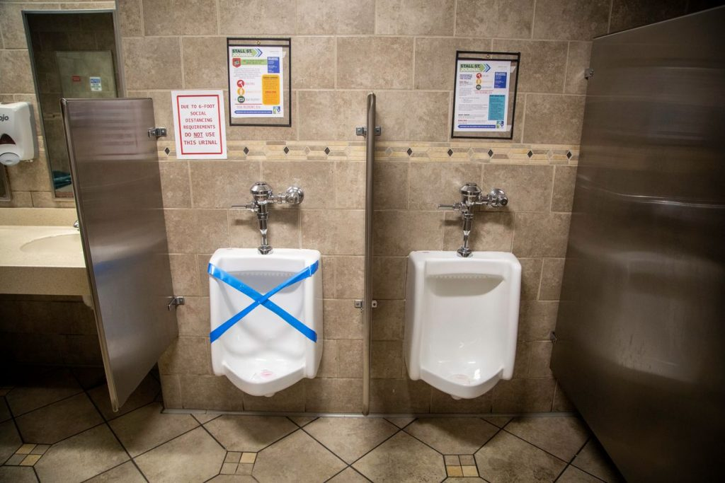 Restaurant reopening plan: COVID-19 social distancing restroom. Photo by GE and the Wall Street Journal