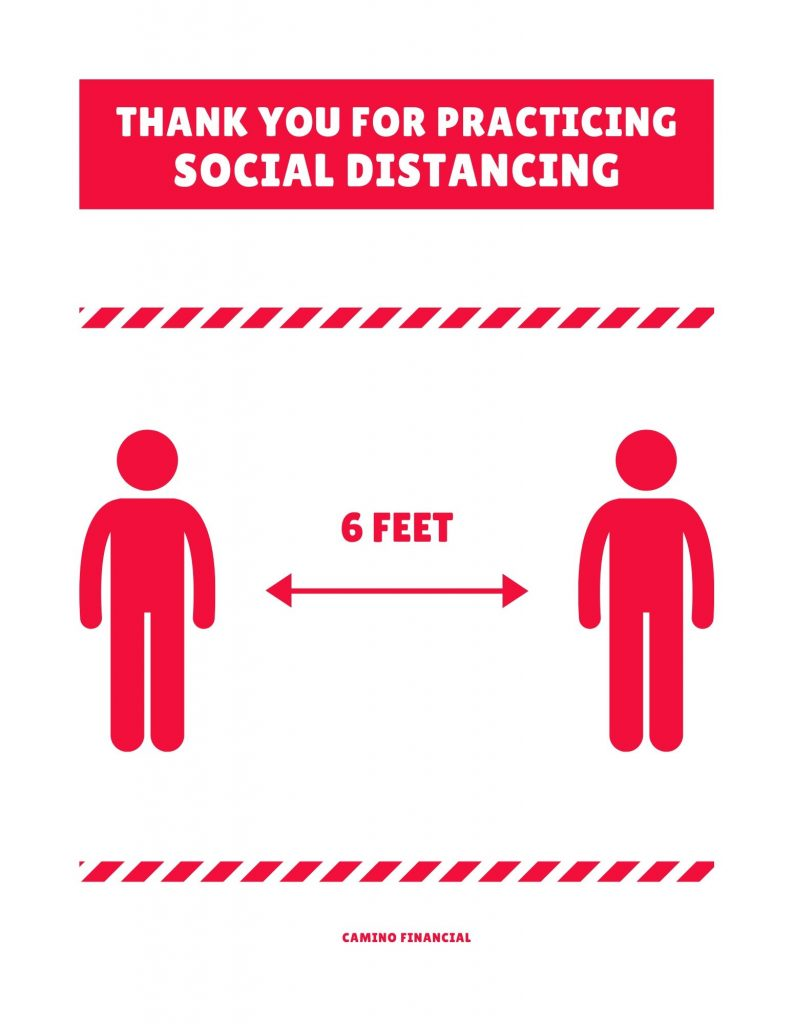Social Distancing Poster. Camino Financial. concept: reopening plan