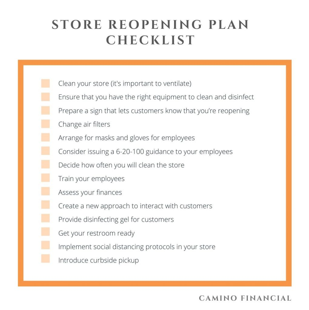 Store Reopening Plan Checklist. Camino financial. concept: Reopening Plan
