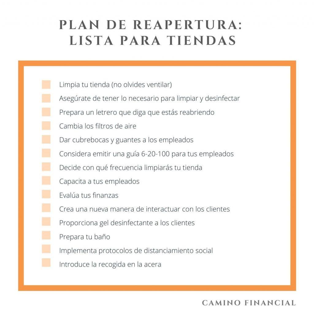 Plan de reapertura Checklist. camino financial. concept: Plan de reapertura