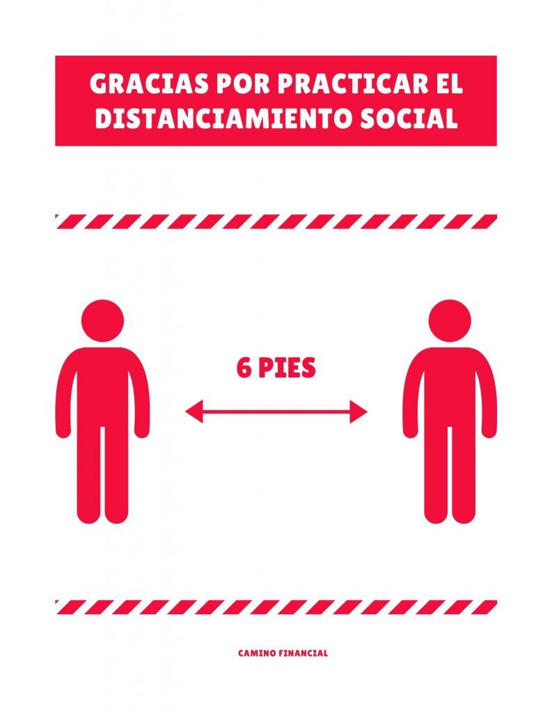 Distanciamiento social poster. camino financial. concept: Plan de reapertura
