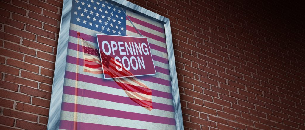 Opening the US economy and reopen United States and American economic activity and back to work after the business lockdown as a store window and reopening markets in a 3D illustration style.