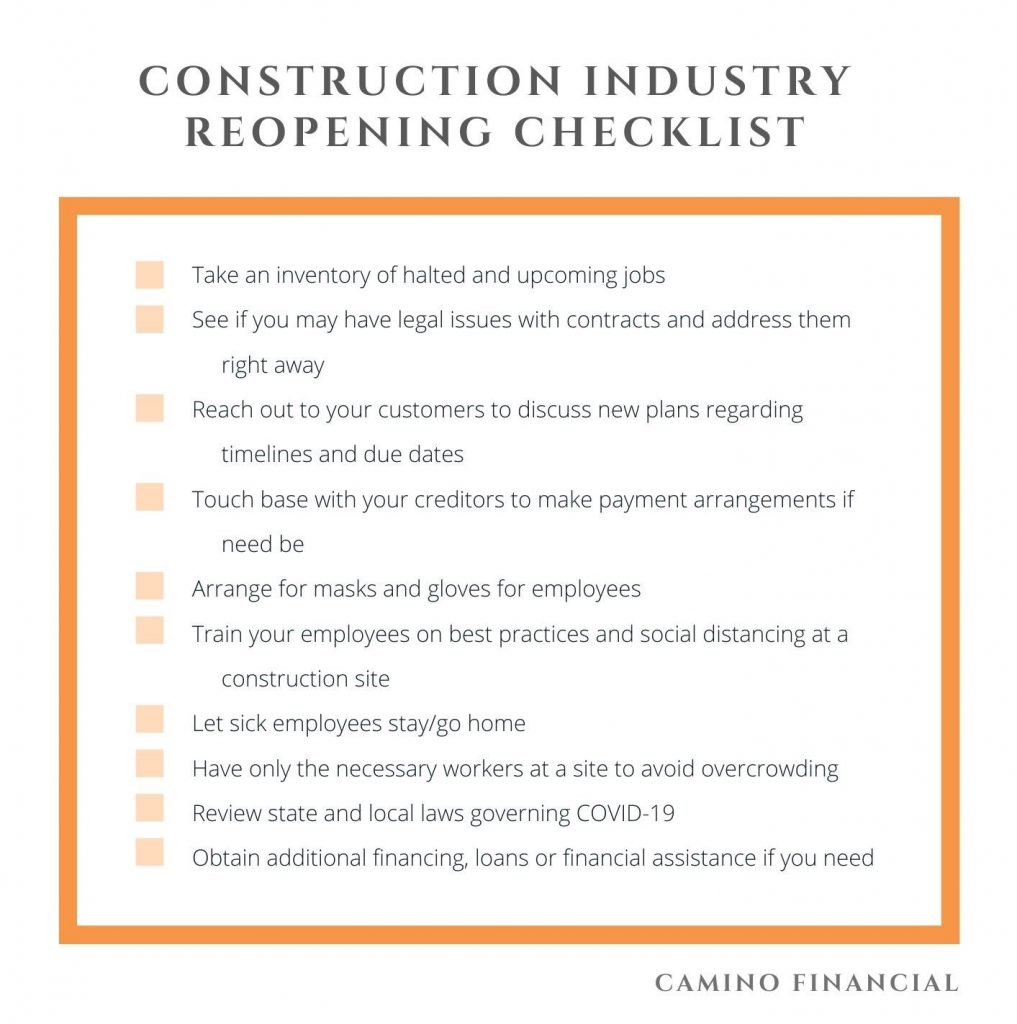 Construction Reopening Plan Checklist. Camino Financial. Construction during coronavirus