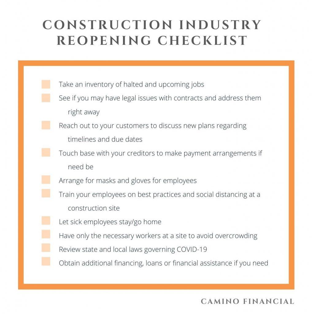 Construction Reopening Plan Checklist. Camino Financial. Construction during coronavirus