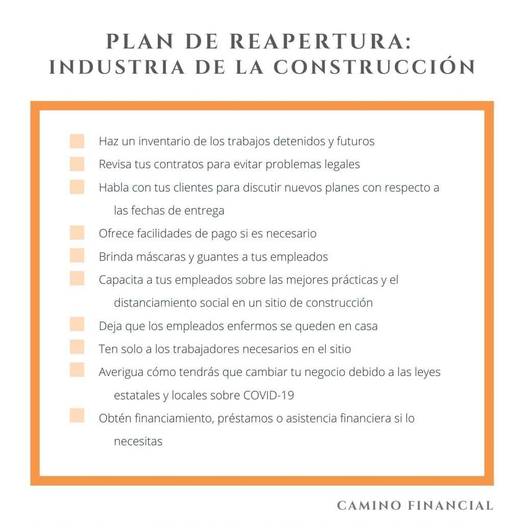 plan de reapertura, industria de la construcción. Camino Financial