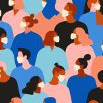 Coronavirus (2019-nCov), personas ilustradas con cubrebocas. concept: el gran confinamiento