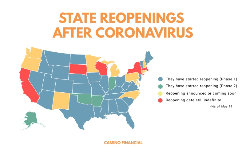 State reopenings after coronavirus, infographic, camino financial. concept: the great lockdown