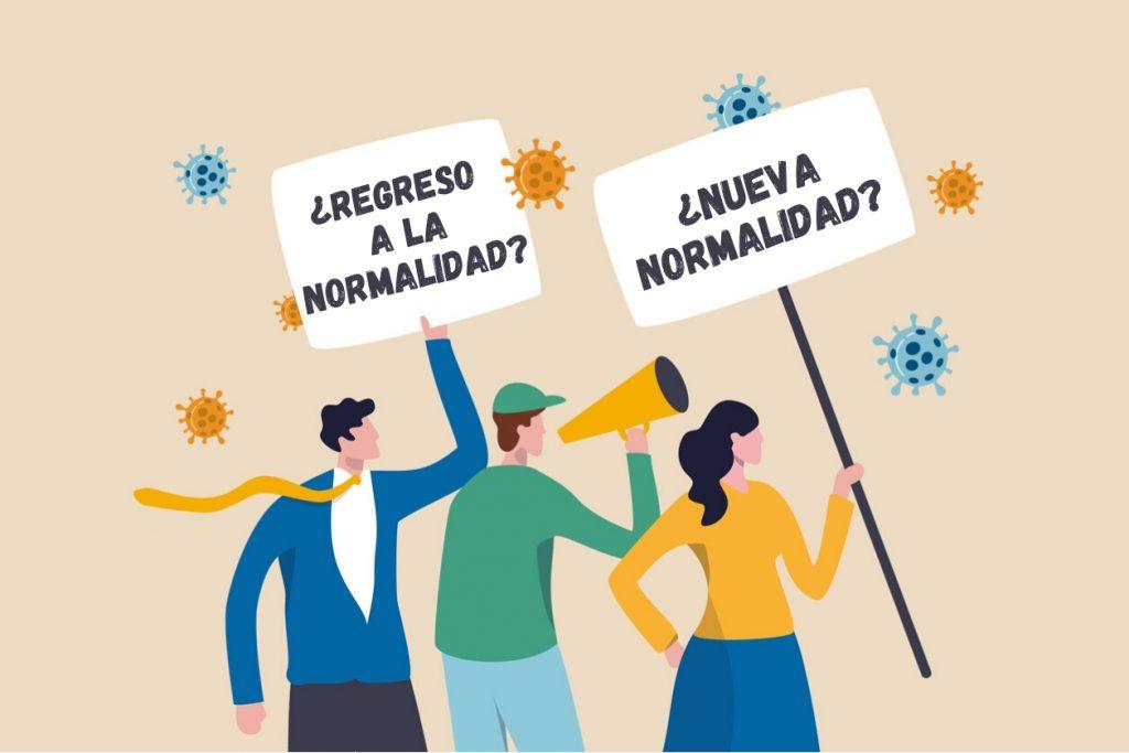 Personas con letreros sobre el coronavirus, COVID-19, la nueva normalidad