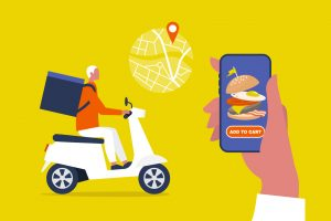 Food delivery service. Mobile application. Young male courier with a large backpack riding a motor bike. Flat editable vector illustration, clip art. concept: doordash app