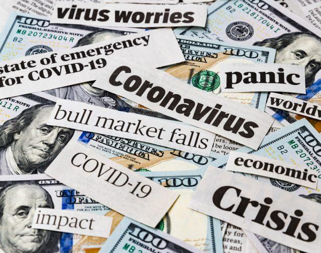 Coronavirus, covid-19, dolares americanos, noticias. concept: nueva economía