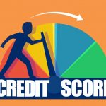 Credit score concept. Vector of a businessman pushing scale changing credit information from poor to good. concept: how to improve your credit score