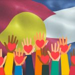 colorado flag, hands with hearts, nonproits, helping, concept: Resources for Small Businesses