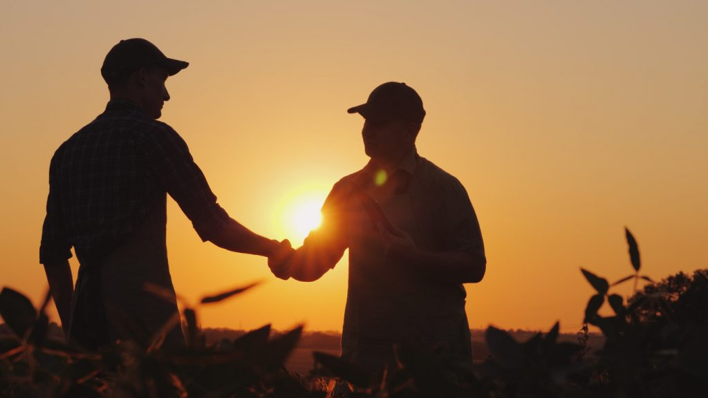 Two farmers talk on the field, then shake hands. Use a tablet. concept: small farm loans