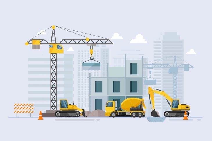 Under construction Building work process with construction machines. Vector illustration. concept: Commercial Construction Loans