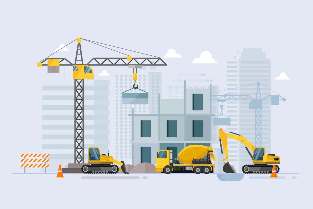 Edificio en construcción con maquinaria. Vector, ilustración. concept: préstamo comercial de construcción