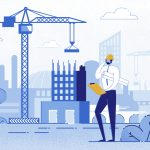 Architect Holding Blueprints near Construction Flat Cartoon Vector Illustration. Engineer Talking on Phone near New Building. Man with Project in Helmet and Suit. Crane Constructing House. concept: Commercial Construction Loans