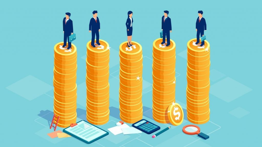 Gender equality and equal opportunities in corporate business concept. Vector with businessmen and businesswoman on same pile of money. copncept: How to Calculate Retained Earnings