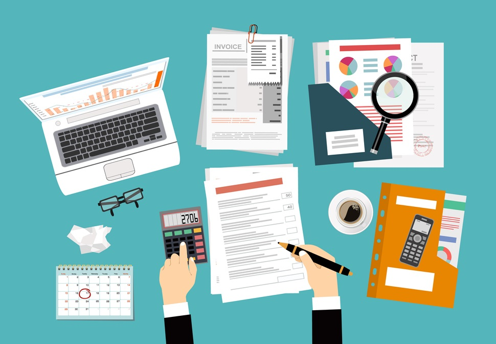 Auditing concepts. Auditor at table during examination of financial report. Tax process. Research, project management, planning, accounting, analysis, data. Vector illustration flat design. concept: tax preparation