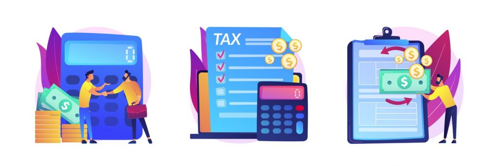 Financial documents and forms, paperwork. Accountant appointment, filing the taxes, tax return metaphors. Calculating obligatory payments. Vector isolated concept metaphor illustrations. concept: tax preparation