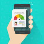 Credit score online report document on smartphone, flat cartoon digital good history ranking loan record on mobile phone display, cellphone report isolated. concept: How Long Does It Take to Build Credit?