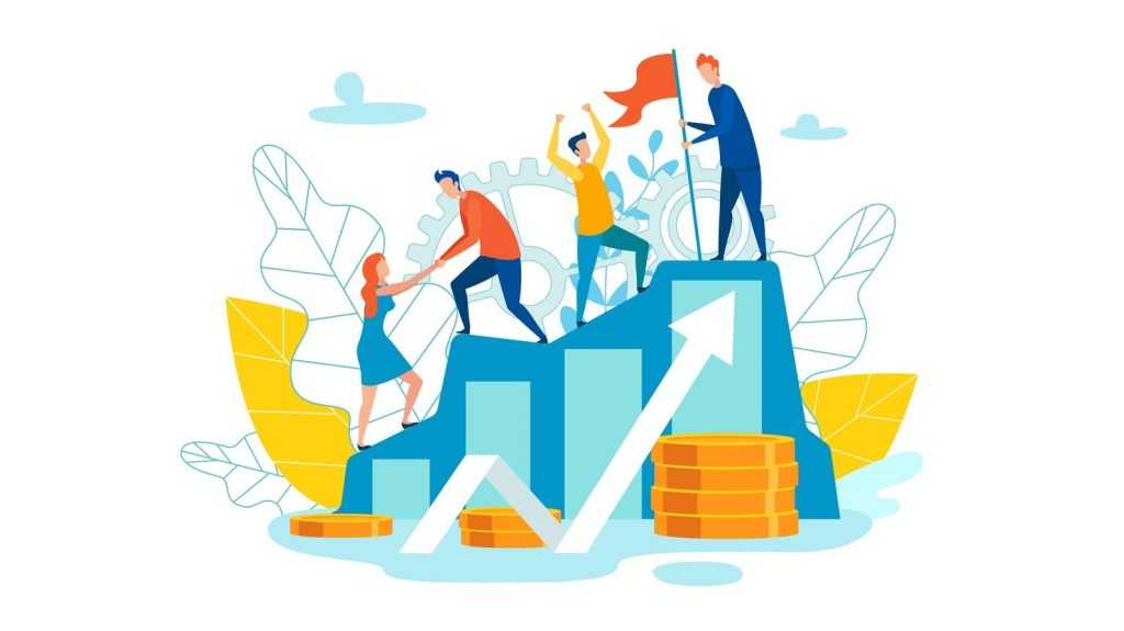 Vector Illustration Representation Team as Whole. Men Help Women Rise up Stairs. Team Metaphor to Understand Identity Colleagues. Reating an Atmosphere Psychological Security Cartoon. concept: How Long Does It Take to Build Credit