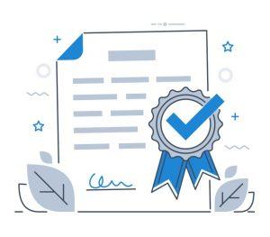 Product certification. Flat modern line-art vector illustration. concept: certificate of good standing
