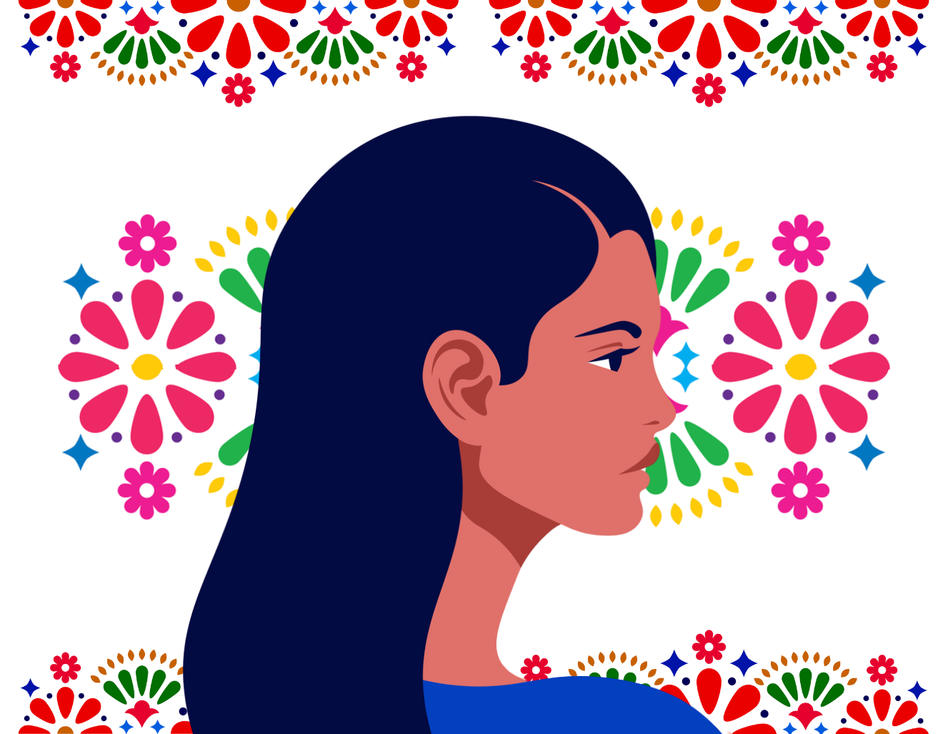 Latin American head in profile. Hispanic woman. Races and nationalities of the world. Vector flat illustration. Folk art pattern decor inspired by traditional art form Mexico on white background. concept: women in fintech, latinx