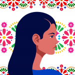 Latin American head in profile. Hispanic woman. Races and nationalities of the world. Vector flat illustration. Folk art pattern decor inspired by traditional art form Mexico on white background. concept: Mujeres en Fintech