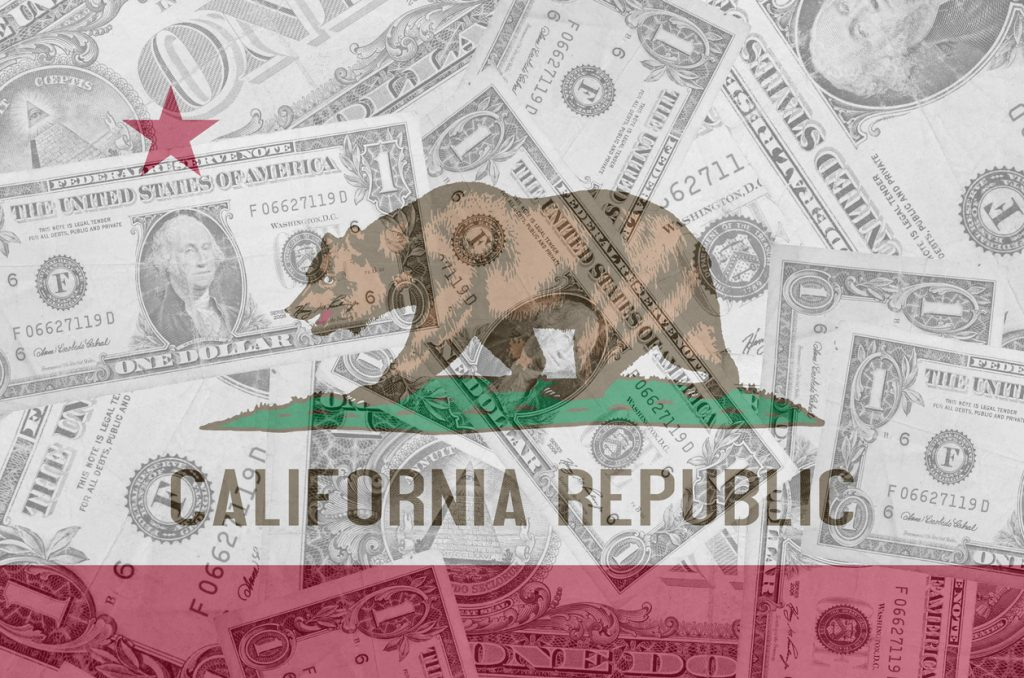 transparent united states of america state flag of california with dollar currency in background symbolizing political, economical and social government. concept: California Small Business Grants