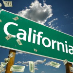 california sign with money. concept: small business loans in california