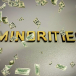 Minority word quote heading title, money falling. concept: Small Business Grants For Minorities