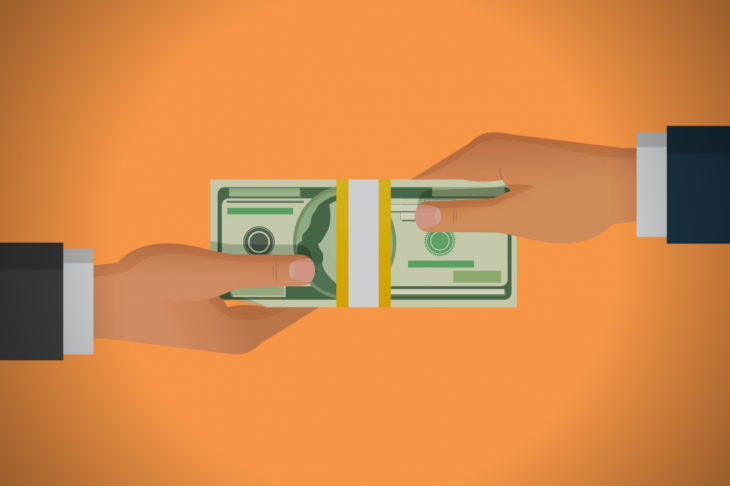 Human hand giving money to other hand. Holding banknotes. Isolated on blue background. Vector illustration. concept: small business financing