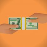 mano dando dinero a otra mano. concept: financiamiento para empresas