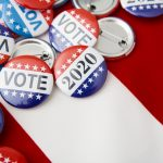 American vote badges on national USA flag background, copy space, elections 2020. concept: Small business owner, election day