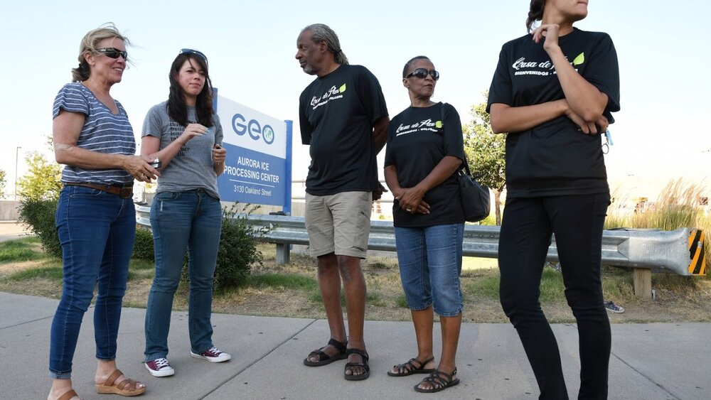 AURORA, CO - AUGUST 15, 2019: As detainees are released from the GEO ICE Processing Center, volunteers from Casa de Paz are waiting outside to offer help on August 15, 2019 in Aurora, Colorado. Casa de Paz, located just outside of Denver, is filled with people ready to help, offers a safe place to gather and get a meal, as well as a warm bed to sleep in. (Photo By Kathryn Scott). concept: casa de paz