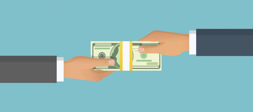 Human hand giving money to other hand. Holding banknotes. Isolated on blue background. Vector illustration. concept: Business Line of Credit Calculator