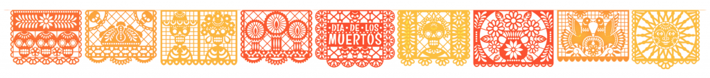 Vector horizontal banner with traditional Mexican paper cutting flags. Isolated on black background. concept: día de muertos
