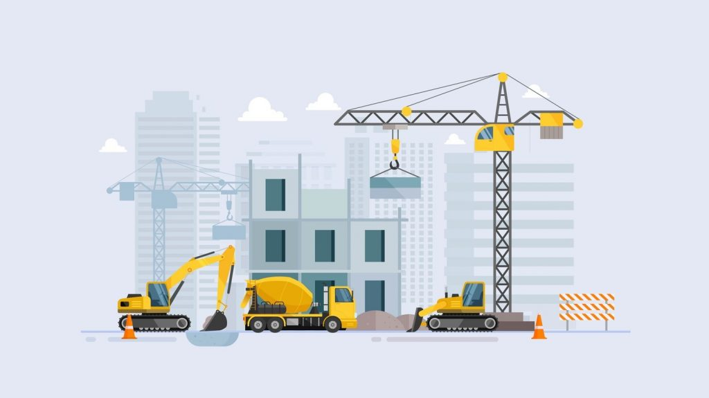 Under construction Building work process with construction machines. Vector illustration. concept: Heavy Equipment Manufacturers
