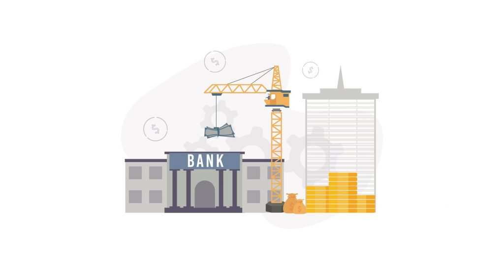 Lending to state infrastructure projects. Illustration of a construction crane carries banknotes from a bank, near the building near which a money bag and a stack of coins, on the background gears. concept: Heavy Equipment Financing: