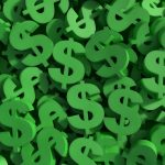 Huge amount of green dollar symbol, 3d render illustration. concept: make money with money, investments