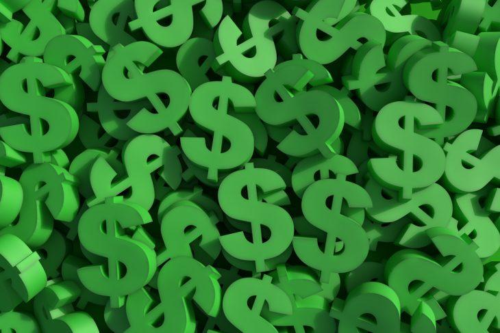 Huge amount of green dollar symbol, 3d render illustration. concept: make money with money, investments