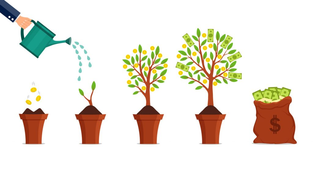 Money tree growing process. Financial growth concept. Dollar investment in business. Hand watering growing money plant with bitcoin. Financial green tree on isolated background. vector illustration. concept: Make money with money