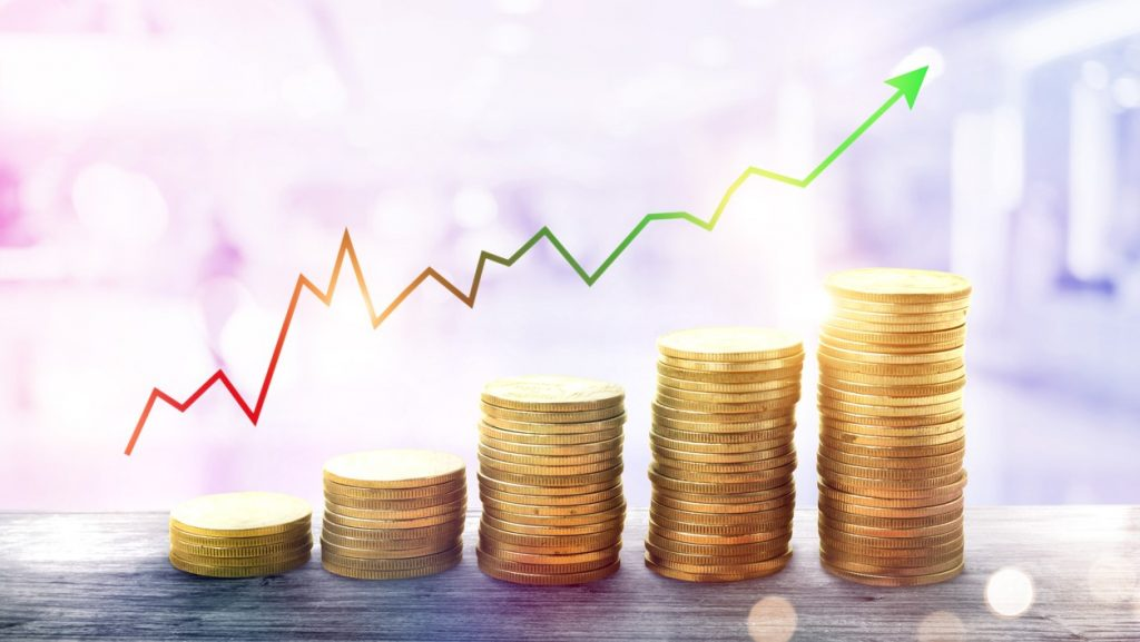 money coin stack growing business.chart finance and Investment. concept: Make money with money, investments