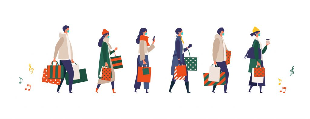 Masked people carrying shopping bags at Christmas. Man and woman taking part in seasonal sale at store, shop, mall on new normal lifestyle. Flat cartoon colorful vector illustration. concept: Holidays during COVID-19