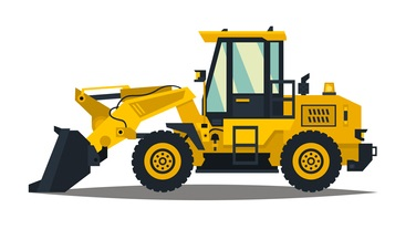 A large set of construction equipment in yellow. Special machines for the building work. Forklifts, cranes, excavators, tractors, bulldozers, trucks, cars, concrete mixer, trailer. Vector illustration. concept: Small Construction Equipment: loader