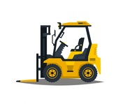 A large set of construction equipment in yellow. Special machines for the building work. Forklifts, cranes, excavators, tractors, bulldozers, trucks, cars, concrete mixer, trailer. Vector illustration. conecpt: Small Construction Equipment: forklift